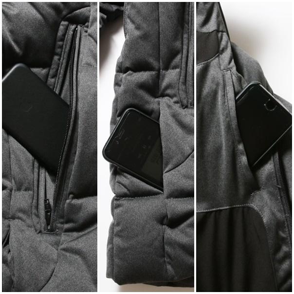 フェザースダウンジャケットのポケット