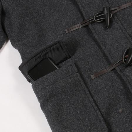 メルトンセミロングダッフルコートのポケット