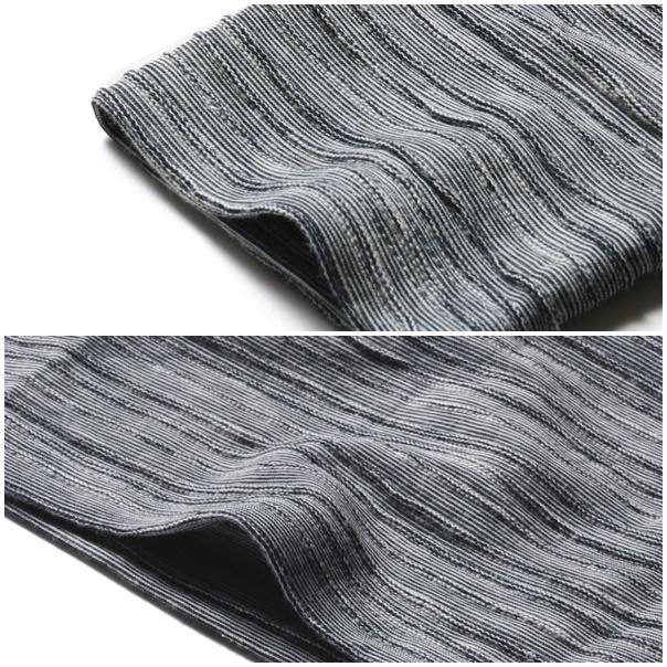 杢タックボーダーVネックカットソーの袖裾