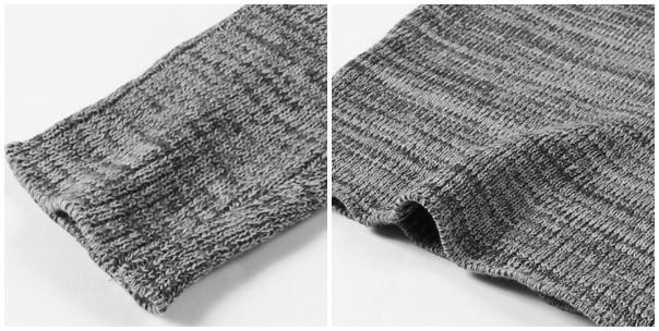 リブ編みショールカラーコットンニット袖裾