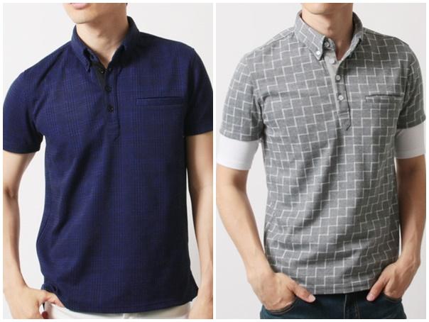 グレンチェック/ウィンドウペン 総柄半袖ポロシャツ